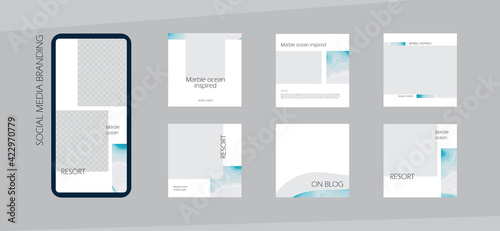 Fototapeta minimal Instagram social media feed branding background or web banner template. marble ocean texture background frame in gray turquoise color. for beauty, jewelry, cosmetics, travel, spa,  content obraz