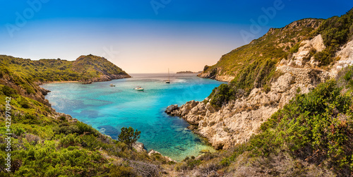 Obraz na plátně Boats in bay near Porto Timoni beach on Corfu island in Greece