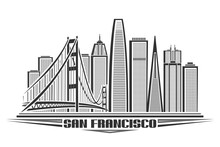 Vector Illustration Of San Francisco, Monochrome Horizontal Poster With Line Art Design American City Scape, Urban Concept With Unique Decorative Font For Black Words San Francisco On White Background