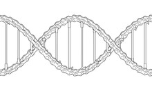 Bicycle Chains With Spokes Twisted Like A DNA Spiral. Replicable Outline Tattoo Illustration.