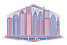 Vector Illustration Of Philadelphia, Horizontal Poster With Outline Design Philadelphia City Scape, Urban Line Art Concept With Unique Lettering For Word Philadelphia And Decorative Stars In A Row.