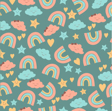Seamless Baby Background With Rainbow, Clouds And Stars. Vector. For Printing On Clothing, Fabric, Baby Bedding, Wrapping Paper