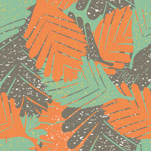 Abstract Paint Spatter Tropical Leaves Seamless Vector Pattern Background. Painterly Backdrop With Textured Speckled Overlapping Layered Foliage. Tropical Orange, Light Blue, Brown Botanical Repeat
