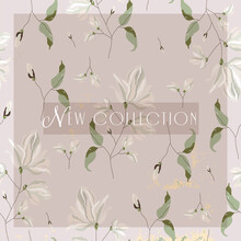 Floral Spring  Social Media Banner For Advertising With Chic Magnolia Flower Pattern On Pink Blush Background