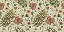 Vintage Botanical Pattern. Forest Background With Butterflies, Beetles, Herbs, Fern, Flowers. Watercolor Elements. Hand Drawing. Suitable For The Design Of Fabric, Paper, Wallpaper, Notebook Covers