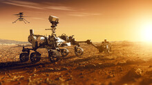 Mars Rover Perseverance And Mars Helicopter Exploring The Red Planet. Mission To Explore The Red Planet. Search For Traces Of Life. Elements Of Image Furnished By NASA