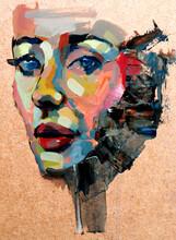 Realistic Multicolor Portrait Of A Woman In Profile