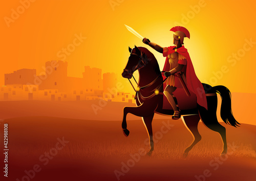 Billede på lærred Gaius Julius Caesar on horseback