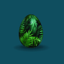 Easter Green Leaves Jungle Wood Tropic Nature Egg Vector Isolated Cartoon 3d