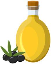 Olive Oil Bottle And Black Olives. Vector Illustration In Cartoon Style. For Mediterranean, Italian And Greek Food Design