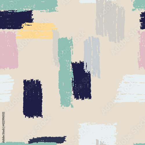 Canvas Print Seamless repeating pattern with multicolored vertical and horizontal paint stripes