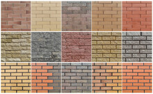 Brick Wall Seamless Pattern Set. 15 Different Brick Background Textures - Red, Orange, Gray, Brown, Olive, Beige, Yellow Colors.