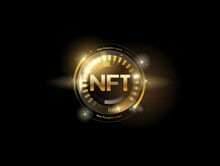 NFT Non Fungible Tokens With Glitter Effect In Golden Style. Vector Illustration Design.