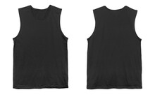 Blank Muscle Tank Top Color Black Front And Back View On White Background