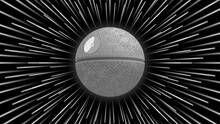 Cosmic Abstract Poster. Background With Hyper Jump Effect. In The Center 3D Gray Spherical Space Station