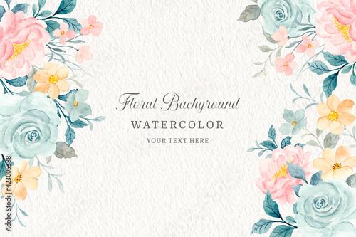 Fototapeta Soft floral frame. Watercolor rose flowers background obraz