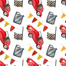 Seamless Watercolor Pattern With Vintage Retro Car