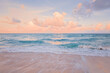 Leinwandbild Motiv Sea ocean beach sunset sunrise landscape outdoor. Water wave with white foam. Beautiful sunset airy red sky with clouds. Natural aquatic blue pink turquoise aquamarine colorful background.