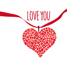 Mosaic Heart With Red Ribbon. Design Element For Romantic Greeting Card, Invitation, Posters. Love You Lettering.