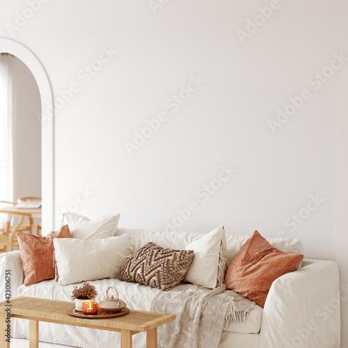 Fototapeta Boho interior style. Wall mockup. Wall art. 3d rendering, 3d illustration obraz na płótnie