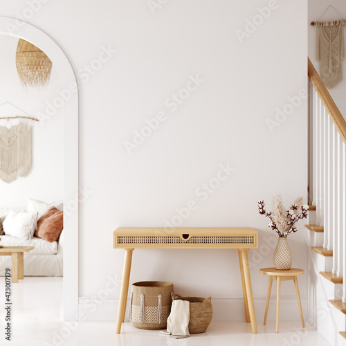 Obraz Boho interior style. Wall mockup. Wall art. 3d rendering, 3d illustration - fototapety do salonu