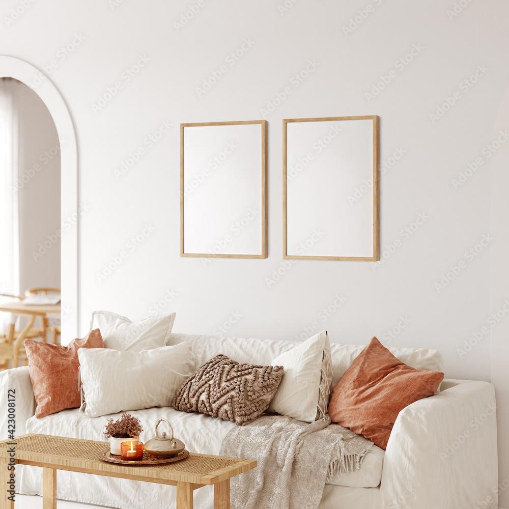 Fototapeta Frame & poster mockup in Boho style interior. 3d rendering, 3d illustration - obraz na płótnie