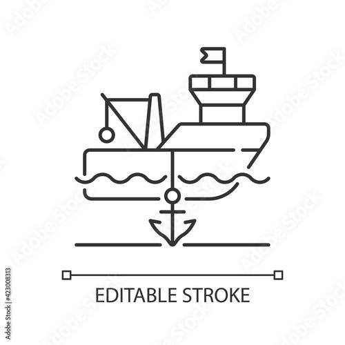 Anchored ship linear icon Fototapet