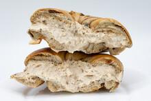 New York City Cinnamon Raisin Bagel Cut In Half And Filled With Tiramisu Cream Cheese