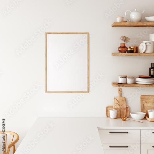 Fototapeta Frame & Poster mockup in kitchen interior.  Boho style.  3d rendering, 3d illustration obraz na płótnie
