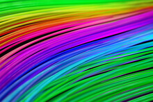 Colourful Background Illustration. Curved Multi-coloured Lines, Strings Or Cables. 3D Illustration