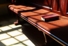 Songbook On Old Bench In Church