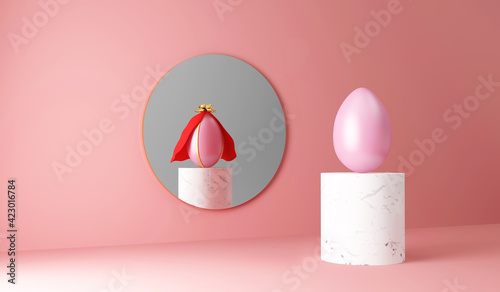 Obraz Painted Easter Egg on marble stand reflected in the mirror as an Superhero Egg on pink studio background - fototapety do salonu