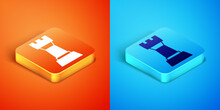 Isometric Chess Icon Isolated On Orange And Blue Background. Business Strategy. Game, Management, Finance. Vector