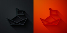 Paper Cut Folded Paper Boat Icon Isolated On Black And Red Background. Origami Paper Ship. Paper Art Style. Vector