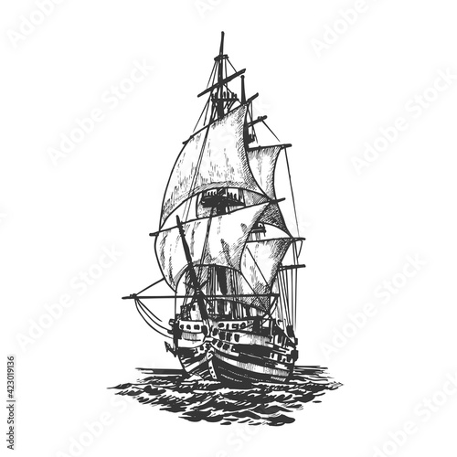 Sailing ship, graphic hand drawing Tapéta, Fotótapéta