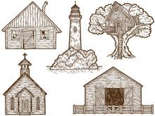 Set Of Old Vintage Buildings. Sketch Scratch Board Imitation Sepia.