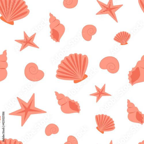 Tela Summer sea seamless pattern of seashells