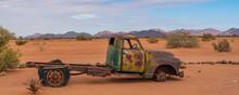Panorama Of A Car Wreck In The Namib Naukluft National Park At Betta, Namibia