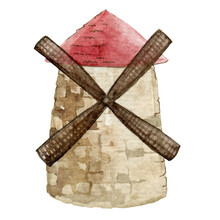 Windmill With Red Tiled Roof. Traditional Rural Wind Energy Mill. Vintage Farm Power Ecology Watermill Watercolor Cartoon Illustration. Generator Propeller Retro Agriculture Tower