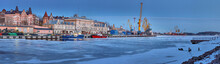Panorama Of The Seaport In Vyborg