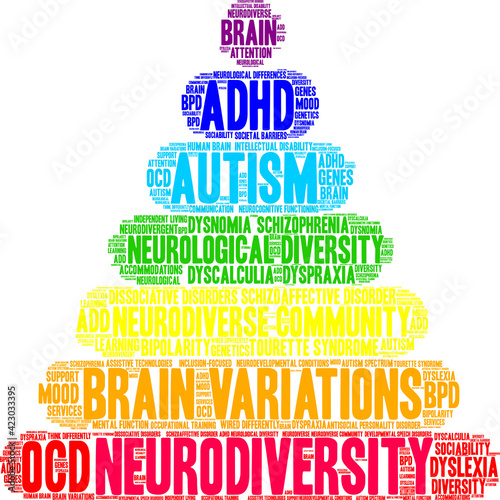 Obraz Neurodiversity Word Cloud on a white background.  - fototapety do salonu
