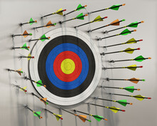 A Lot Of Arrows Missed The Target And Hits The Wall Around It, No Arrow Hits The Target, Concept, 3d Illustration