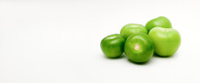 Green Tomatillos (Physalis Philadelphica) With Copy Space On White Background