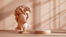 Antique Statue Product Display Background With Podium. David Bust Sculpture. Museum Exhibition Product Placement Template. 3d Rendering.