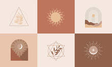 Set Of Modern Abstract Aesthetic Backgrounds With Landscape Of Desert, Sand Dunes,geometric Shapes, Rainbow And Sun. Terracotta Colors. Boho Contemporary Wall Decor.Home Prints In Interior. Vector.