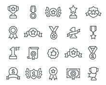 Awards Icons Set. Collection Of Linear Simple Web Icons Such As Cups, Awards, Medals, Diplomas, Champion, Number One, Stars, Shields And Other. Editable Vector Stroke.