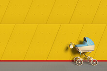 Modern Blue Baby Carriage, Stroller, Pram In Front Of Industrial Building Outside Panels Yellow Concrete Wall. 3d Rendering