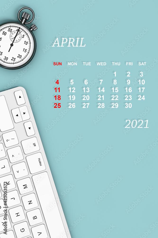 Fototapeta 2021 year calendar. April calendar. 3d Rendering
