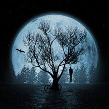 Suicide Concept. Horror View Silhouette Of Hanged Man On A Sinister Tree In Front Of Blue Moon Sky. 3d Rendering