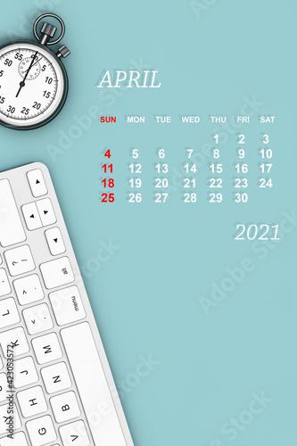 Obraz 2021 year calendar. April calendar. 3d Rendering - fototapety do salonu